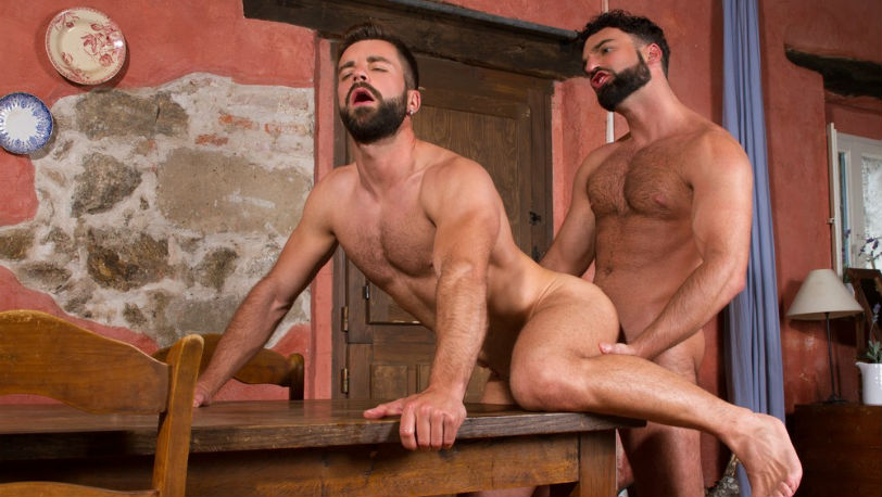 "Abraham Al Malek and Hector de Silva flip-fuck in ""Hung Country"" from Raging Stallion"
