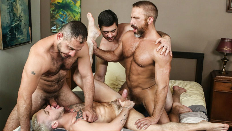Golden boy Colton Grey in a hot Bear jizz orgy at Men.com