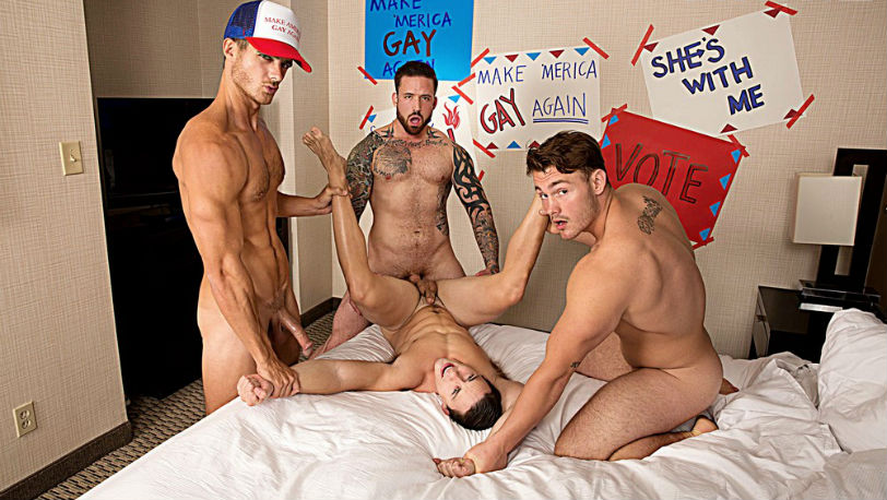 Trevor Long, Evan Marco and Jordan Levine take their turns banging Tobias at Bromo