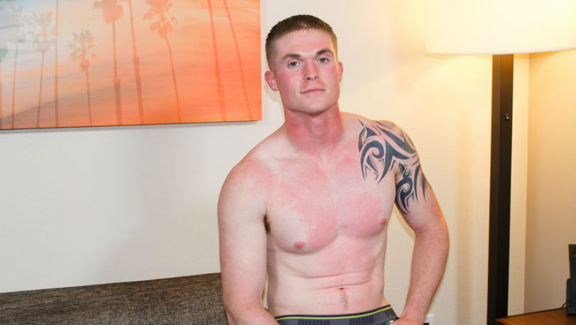 Nathan Vine jerks that nice thick cock at Active Duty