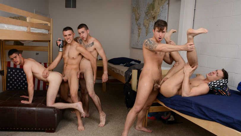Tyler is being passed around in this hot 5 guy bareback gangbang at Reality Dudes