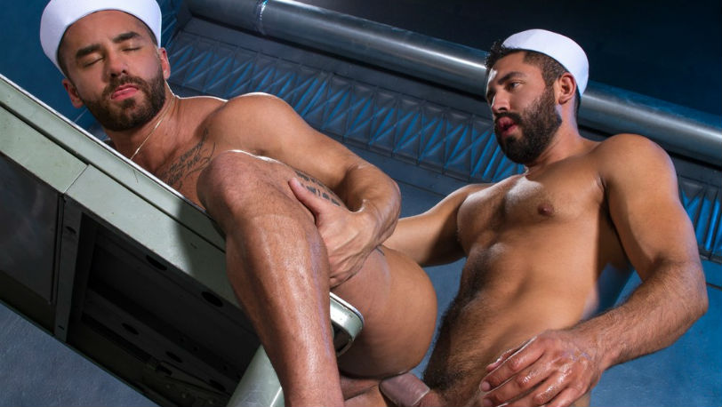Bruno Bernal eagerly strokes Gabriel Taurus' thick cock at Raging Stallion