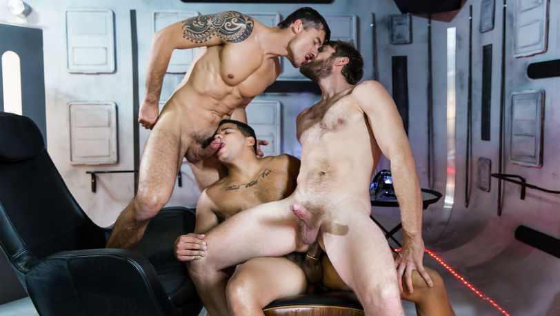 "Colby Keller, Jay Roberts and Kaden Alexander in ""Star Wars : A Gay XXX Parody"" from Men.com"