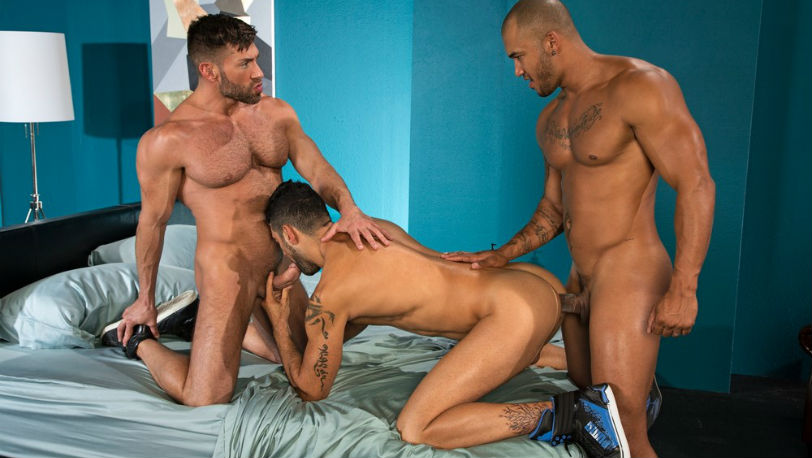Bruce Beckham, Mick Stallone and Jason Vario in a hot Threeway at Raging Stallion