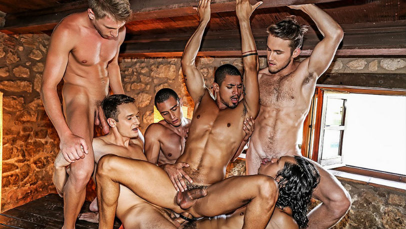 Ibrahim Moreno is a hot 6 guy bareback orgy at Lucas Entertainment