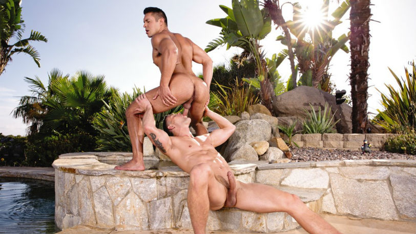 Seth Santoro worships Ryan Rose's thick hard cock at Falcon Studios