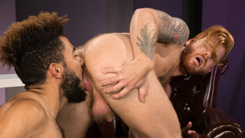Caleb Daniels buries his face in Bennett Anthony's ginger bush at Raging Stallion