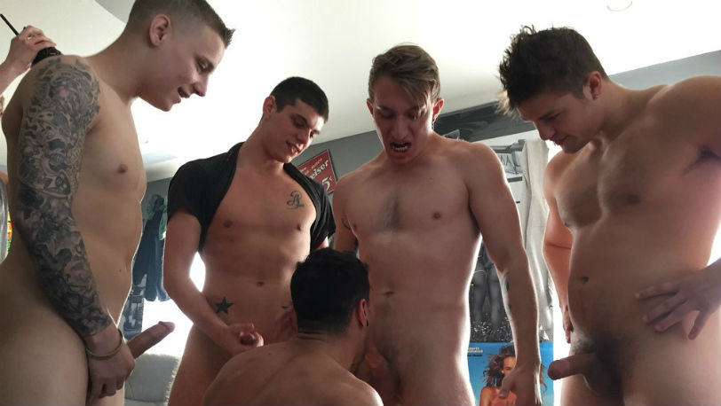 New house bitch Ian gets worked in at Fraternity X