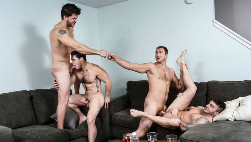 "Connor Maguire, Jake Ashford, Ashton Mckay and Aspen in ""Dad Group"" from Men.com"