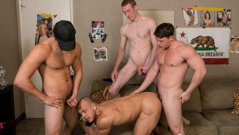 Charlie, Kyle, Tobias and Leon Lewis going all out to satisfy their carnal urges at Reality Dudes