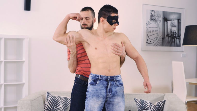 Horny stepdad Richard has Peter Lipnik's uncut cock down his throat at Maskurbate