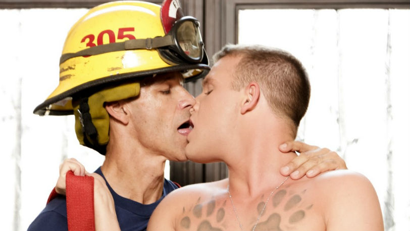Fireman Rodney Steele hoses Brandon Wilde with a blast of his full load at Icon Male