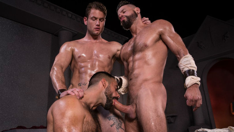 Tex Davidson and Teddy Torres make out as Ace Era sucks their cocks at Raging Stallion