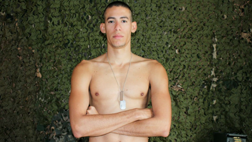 Ricardo Trujillo is a quiet guy with a big thick cock and he loves to stroke it at Active Duty
