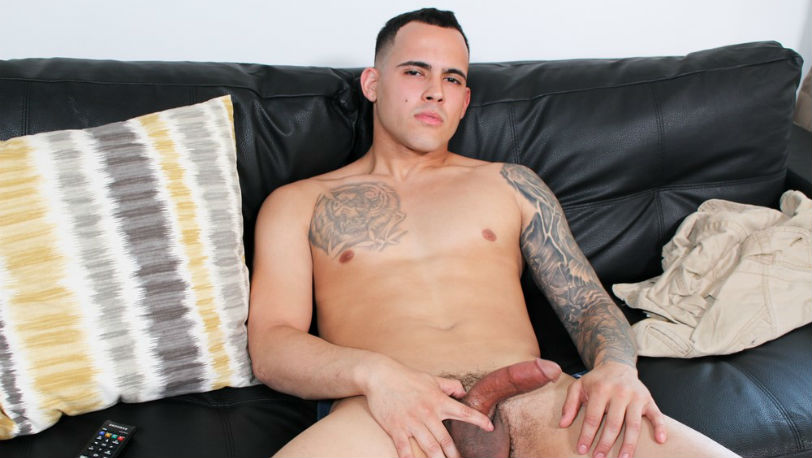 Fernando can't keep his eyes off the camera as he strokes his fat dick at Active Duty