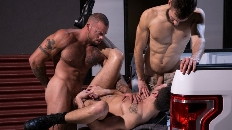 "Sean Duran, Ian Greene and John Ander in ""Drive Thru"" part 3 from Raging Stallion"