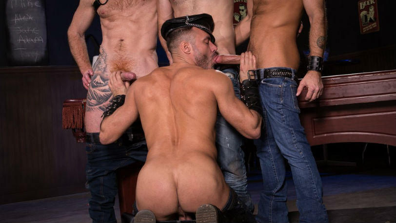 Jack Vidra sucks Manuel's massive meat as CJ attends to Jack Andy's throbbing tool at Raging Stallion
