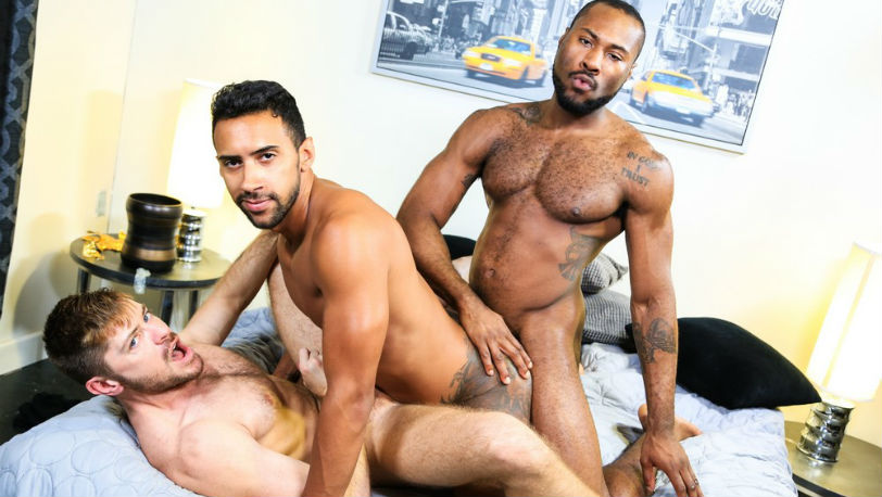 "Jack Andy, Jay Alexander and Noah Donovan in ""28 Inches Of Cock!"" from Pride Studios"