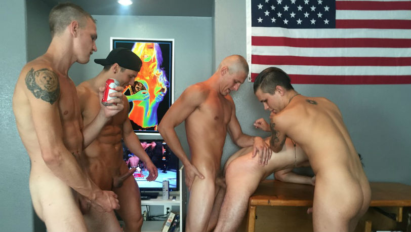 Guy gets his ass pounded by four guys at Fraternity X