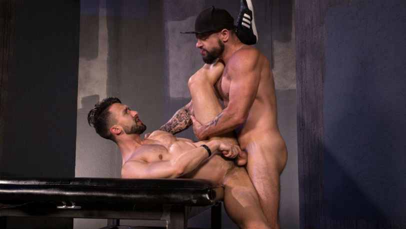 "Tex Davidson and Ryan Finch in ""Beards, Bulges & Ballsacks!"" part 4 from Raging Stallion"