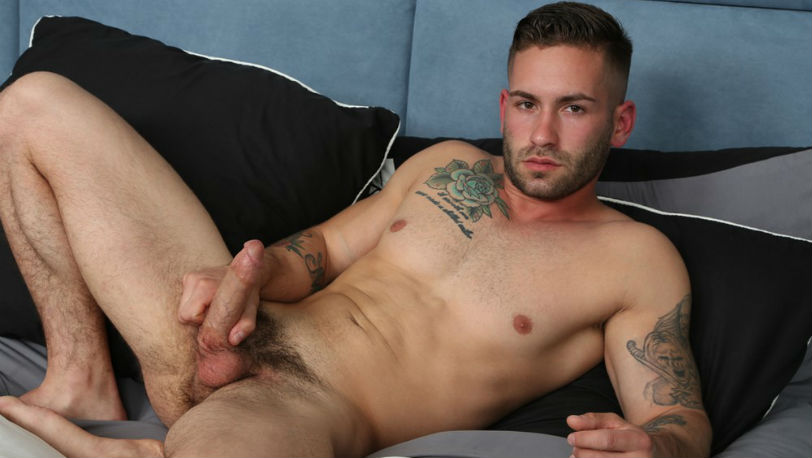 Muscle hunk Bronson constantly played with his big cock at Chaosmen
