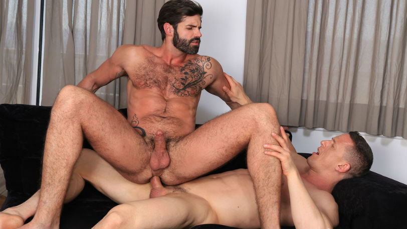 Dani Robles grinds his ass down hard onto Ivan Gregory's hard cock at Kristen Bjorn