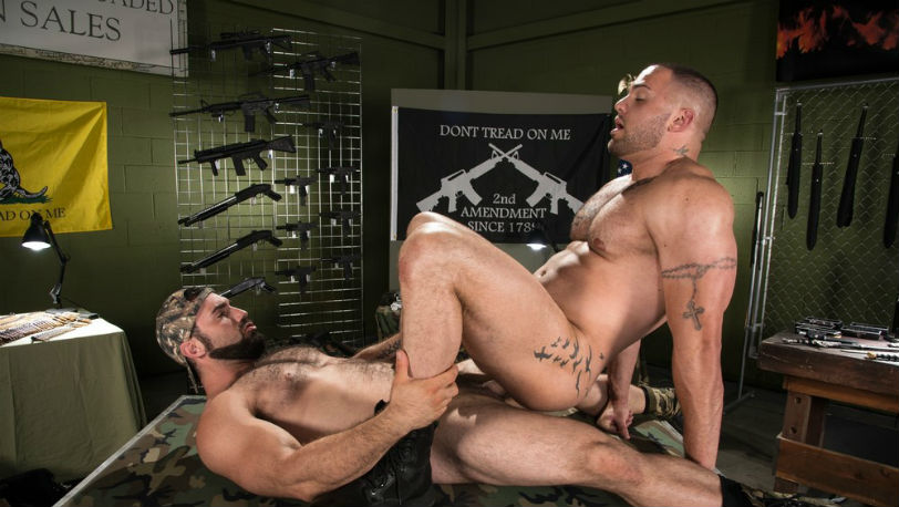 Jaxton Wheeler gives Julian Knowles' ass a jackhammer pounding at Raging Stallion