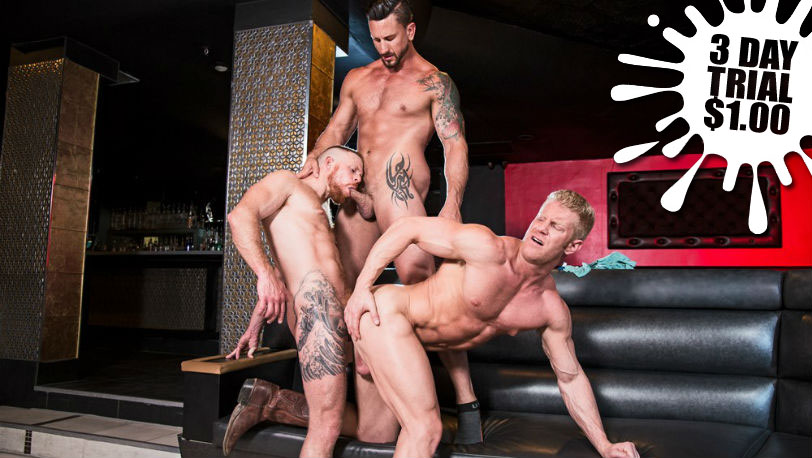 Jack Vidra and Johnny V worship every inch of Dakota Rivers' bulging body at Hot House