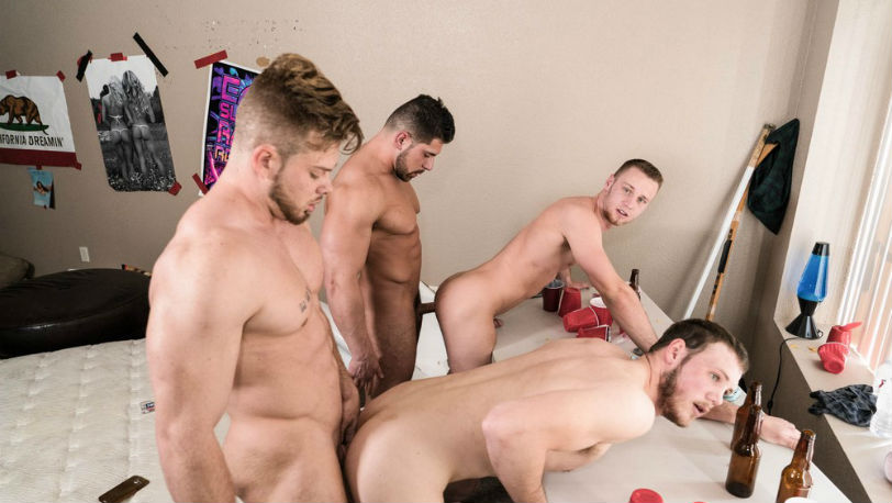 Levi Logging, Brandon Evans, Damien Stone and Ryan Sparks fuck RAW at Reality Dudes