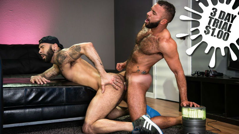 Hairy muscle hunks Rikk York and Fernando Del Rio flip-fuck at Raging Stallion