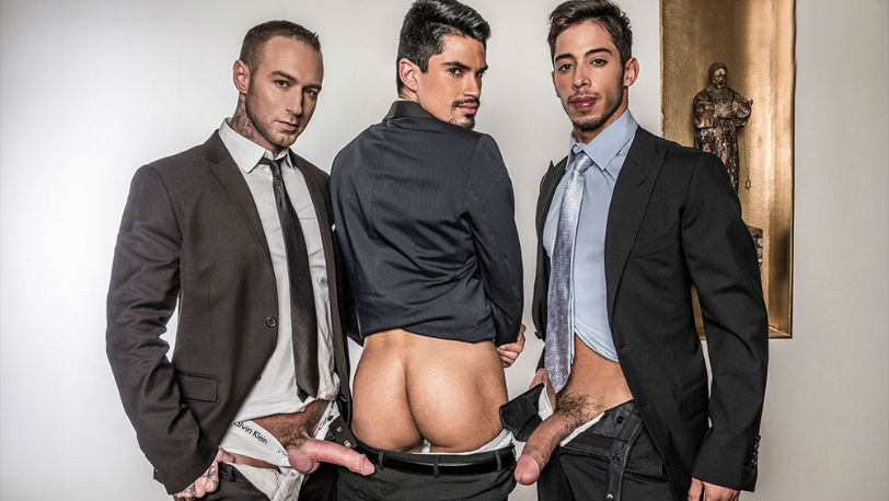 Dylan James and Drae Axtell both take turns on Lee Santino 's ass at Lucas Entertainment