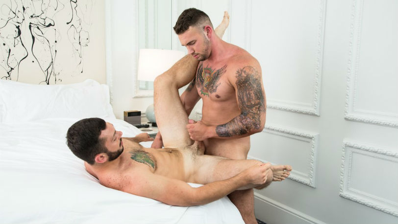 Muscle hunk Steve Rogers fucks Johnny Riley's bubble butt at Next Door Studios