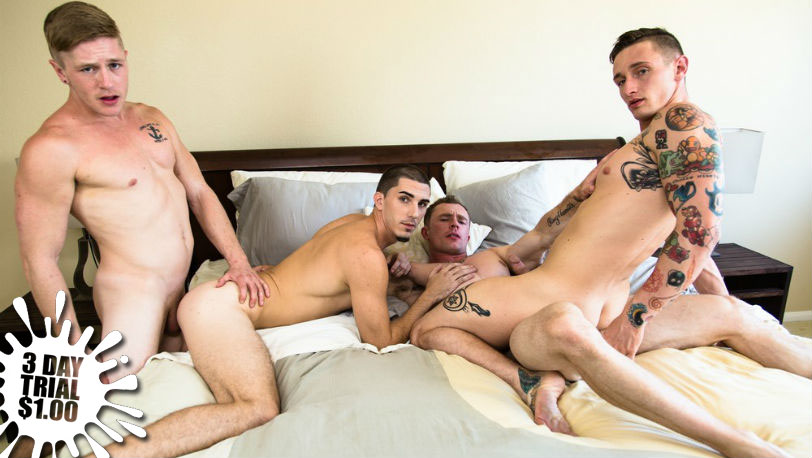 "Markie More, Lance Ford, Chris Blades and Damien Kyle in ""Swinger Stories"" at Next Door Studios"