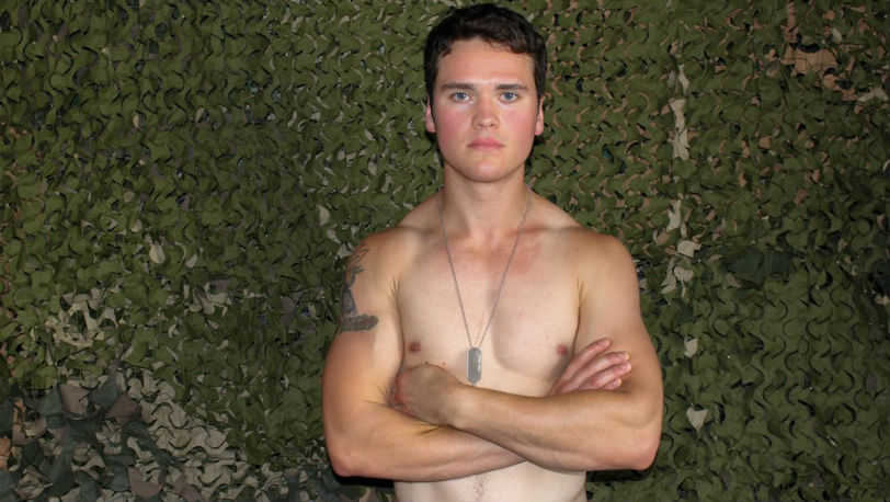 Paul M gets his dick rock hard as he strokes every inch of it at Active Duty