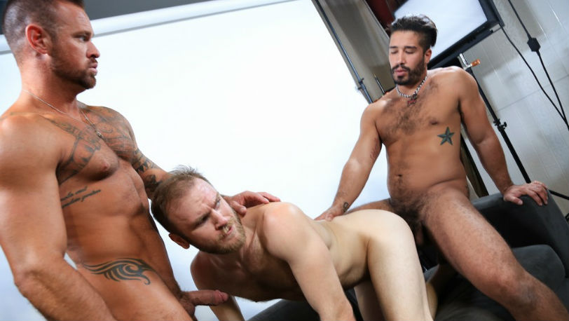 Trey Turner and Michael Roman take turns fucking Peter Marcus at Pride Studios