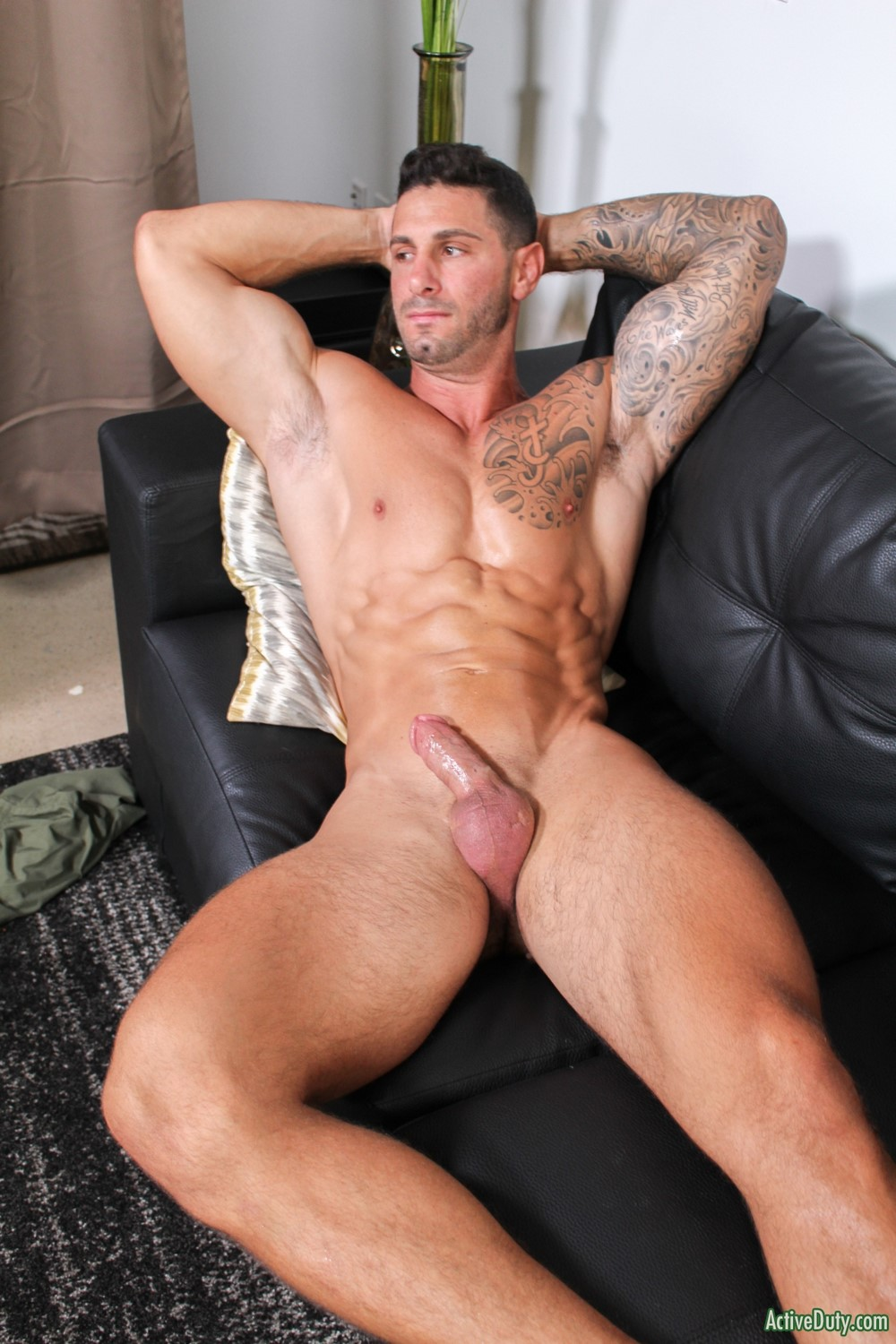 Missionary Muscle Hunk Strokes His Cock