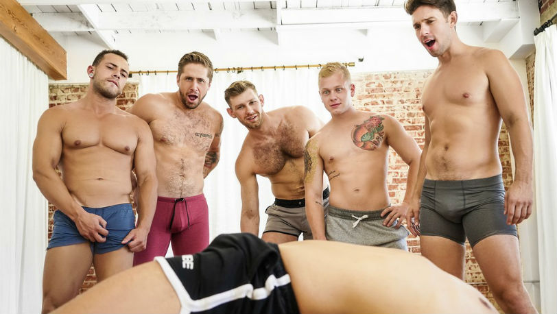 5 horny students can't control themselves after Arad WinWin shows them some moves at Men.com