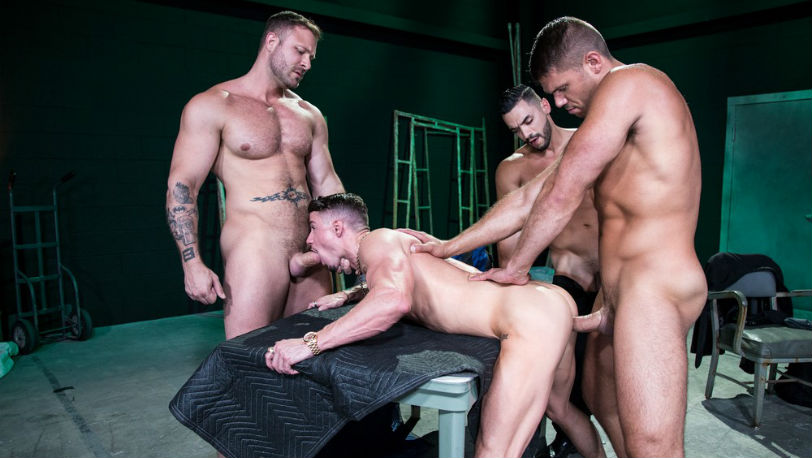 "Austin Wolf, Skyy Knox, Arad Winwin and Tyler Roberts in ""The Fixer"" part 4 from Hot House"