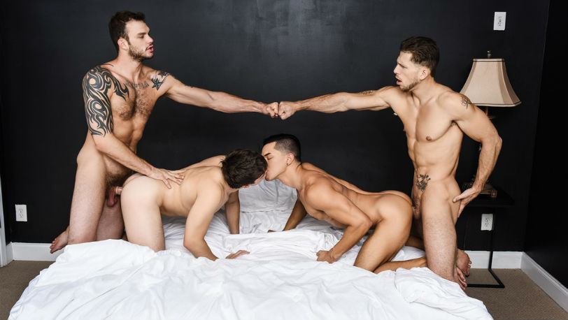 "Cliff Jensen, Ethan Slade, Will Braun and Roman Todd in ""Fuck Me Silly"" part 3 from Men.com"
