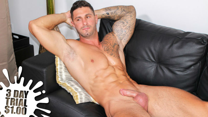 Muscle hunk Jordan strokes his cock as if he was at home on his own couch at Active Duty