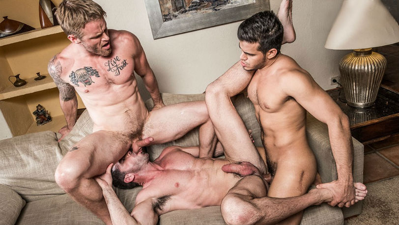"Shawn Reeve, Billy Santoro and Rico Marlon in ""Hole & Face"" from Lucas Entertainment"