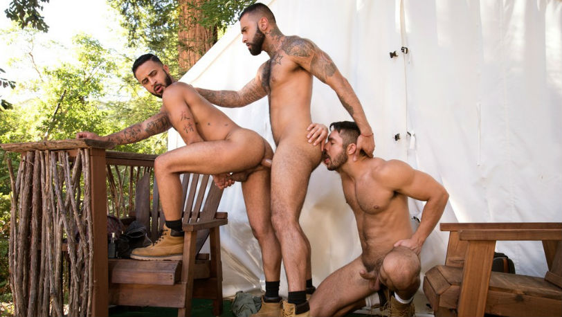 "Seth Santoro, Rikk York and Damian Taylor fuck in ""Trapped"" part 5 from Raging Stallion"