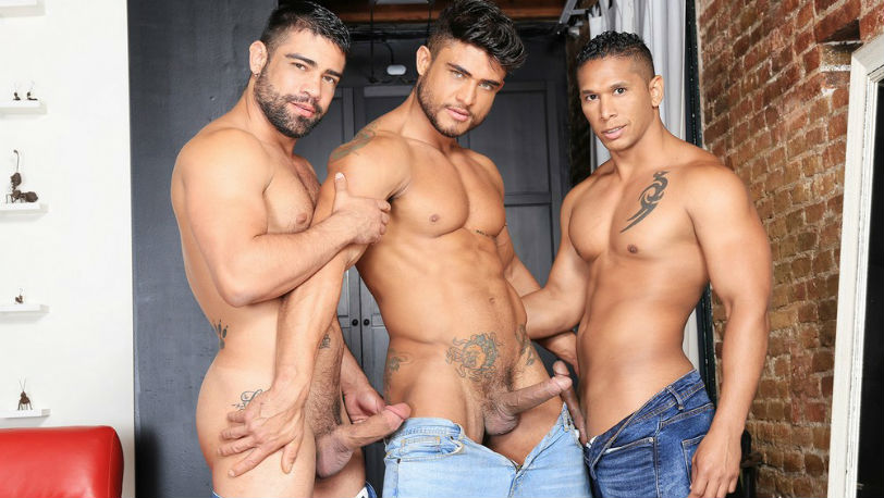 Adrian Monroy is mesmerized by Diego Lauzen and Wagner Vittoria's cock at Kristen Bjorn