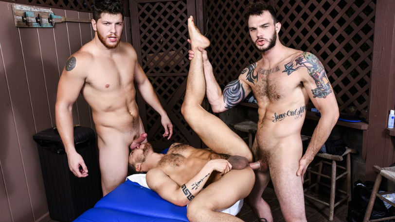 "Beaux Banks, Cliff Jensen and Ashton McKay in ""Couples Massage"" part 2 from Men.com"