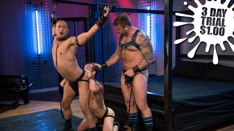 "Nate Grimes, Colby Jansen and Gabriel D'Alessandro in ""Fetish Findr"" part 3 from Fetish Force"