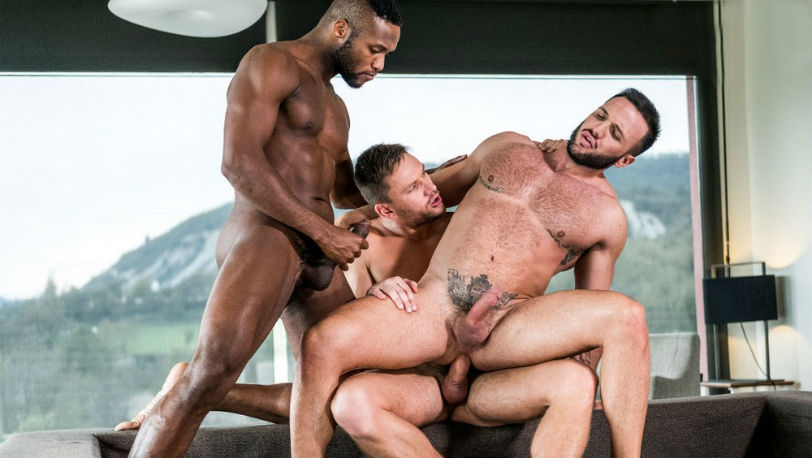 Muscle hunks Donato Reyes, Andre Donovan and Andrey Vic at Lucas Entertainment