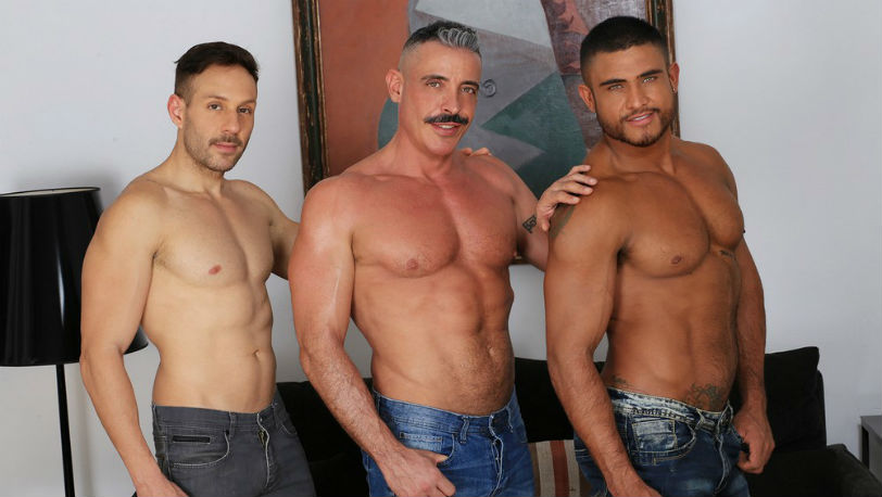 "Marc Ferrer, Diego Lauzen and Mario Galeno in ""Doubleheader"" from Kristen Bjorn"