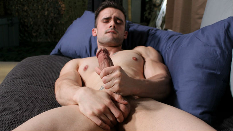Active Duty : Mathias slowly undresses and reveals his massive veiny cock