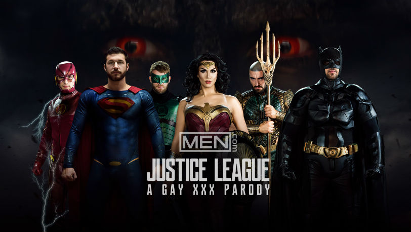 "Hot 5 guy super hero orgy in ""Justice League : A Gay XXX Parody"" part 4 at Men.com"