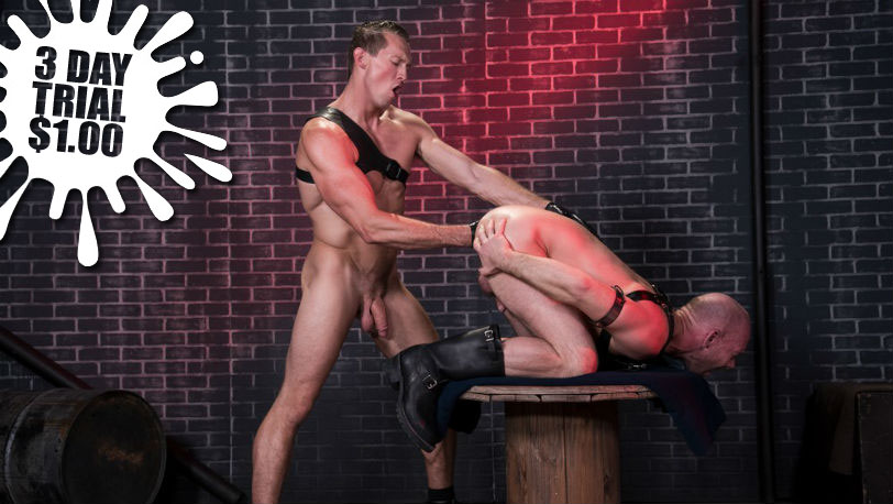 "Mike Tanner and Pierce Paris in ""Fistin Alley"" part 1 from Club Inferno Dungeon"
